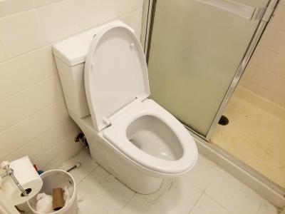 Bev, down in Elyse's bathroom