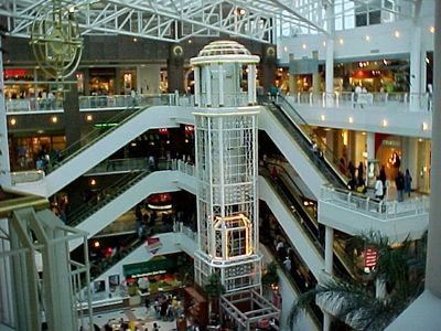 In 2014, the eighties called Pentagon City Mall, and they asked for their decor back.  Pentagon City now looks totally different, sporting a dark color scheme.  The new decor looks great, but I admit that I kinda miss the old styling, because that's the Pentagon City that I grew up with.