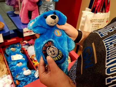She ultimately settled on a blue bear with a Thomas the Tank Engine theme.