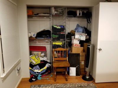 Back bedroom closet.  Note that everything is just kind of thrown in there.