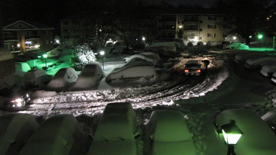 The parking lot at Hewitt Gardens Apartments after the snow stopped.