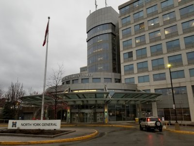 "North York General Hospital, where Jodie and Sam visited in order to check on Sam's hearing problems (caused by cotton that he had stuffed in his ears to block out construction noise) in ""Ears""."