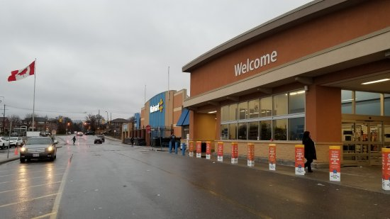 Visiting a Walmart, just to see how different the Canadian stores were.  They were unmistakably Walmart, but a lot of little details were different.