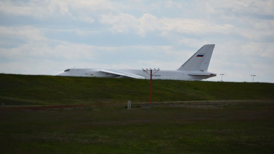 The Antonov An-124 after having landed.