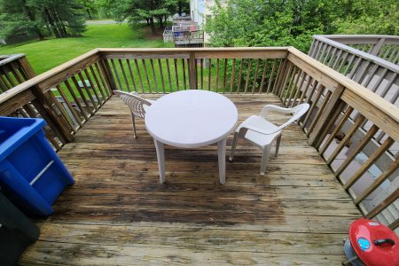 The deck, cleaned and having dried for a few hours