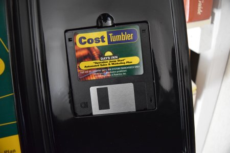 """Days Inn """"Cost Tumbler"""" program on 3.5"""" floppy disk. It's hard to get more nineties than that."""