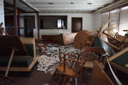 Restaurant interior, completely trashed.