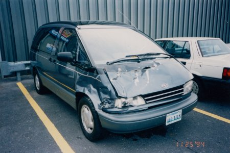 The damage to the Previa after its collision with a deer