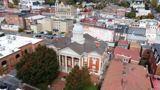 The Augusta County Courthouse, viewed from above