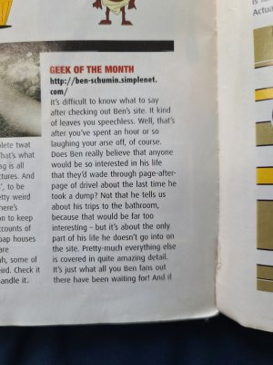 "Front magazine ""Geek of the Month"" article from June 2000"