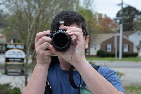 Evan lines up a photo of the Long Lines tower with my zoom lens.