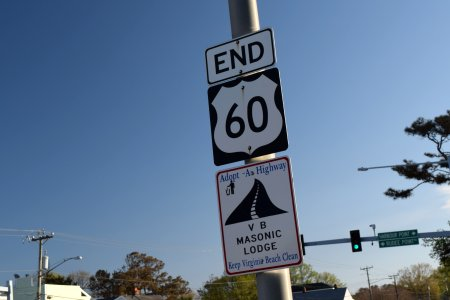 """We went over to the """"END"""" sign for US 60 just after Rudee Inlet."""