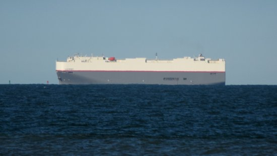 The first of two car carrier ships that we spotted. This is the Leo Spirit, and from what I could tell researching online, it was on its way to the Port of Baltimore.