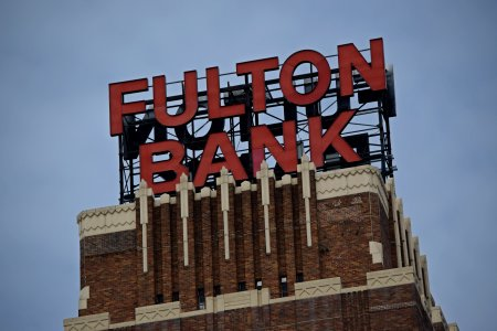 Sign on the Fulton Bank building.