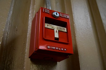 Fire alarm in a parking garage adjacent to Strawberry Square.