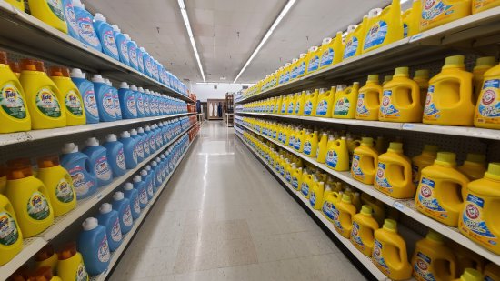 One of several aisles near the front of the store loaded with laundry detergent.  Seriously, there was no shortage of laundry detergent in this store.