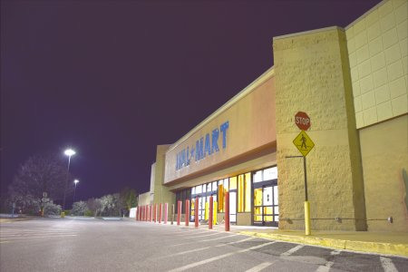 "Ten two-second exposures of the former Leesburg Walmart, stacked with ""summation"" treatment"