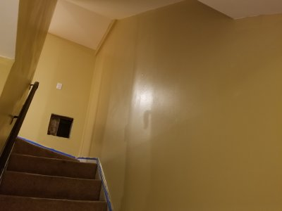 The basement stairs, painted