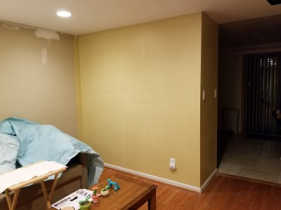 The back wall is painted in the new color