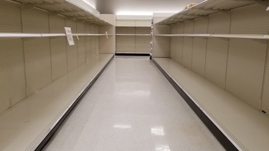 The toilet paper aisle, picked completely bare.