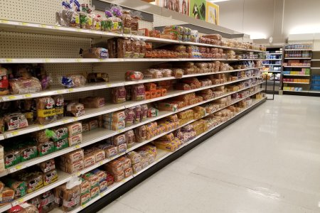 The bread aisle had definitely been hit by the panic buying, but I was surprised that it wasn't emptier.