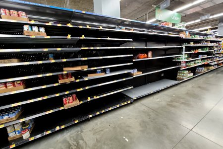 At the Walmart in Tysons Corner, the soup and the canned vegetables had been mostly cleaned out.  You really got a feel for the stuff that nobody liked, because it was the only stuff left.