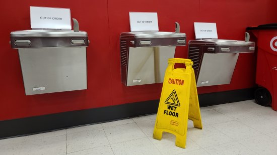 Target even went so far as to shut down the water fountains in the front of the store.
