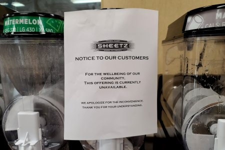 "Sheetz took their slush machines out of service, ""For the wellbeing of our community.""  However, considering how much sugar is in these things, getting rid of them entirely would likely be a net benefit to the well-being of the community."