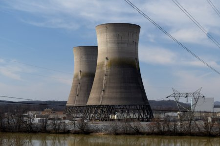 The cooling towers for the long-dormant Unit 2. This unit was decommissioned following the accident that occurred here in the 1970s.