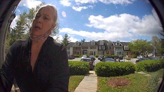 Karen Sheehan, caught in the act by my doorbell camera