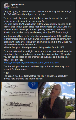 Elyse's post in response to the flyer