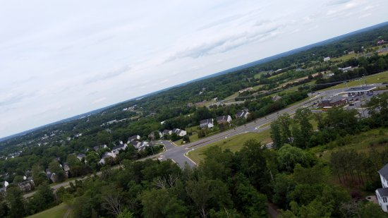 Former AT&T Long Lines tower in Manassas, while my drone was malfunctioning. Note the skewed angle.