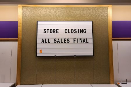 One of several message signs located throughout the store.