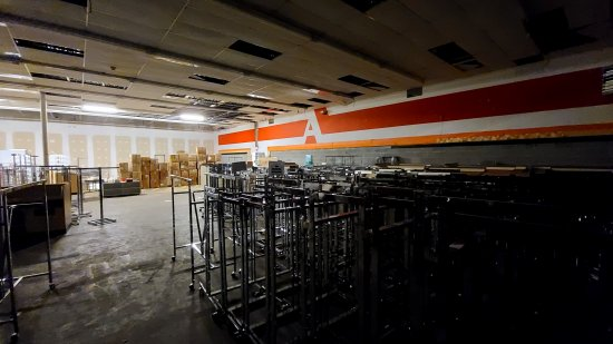 The back room at Gordmans, where the liquidators were selling fixtures.