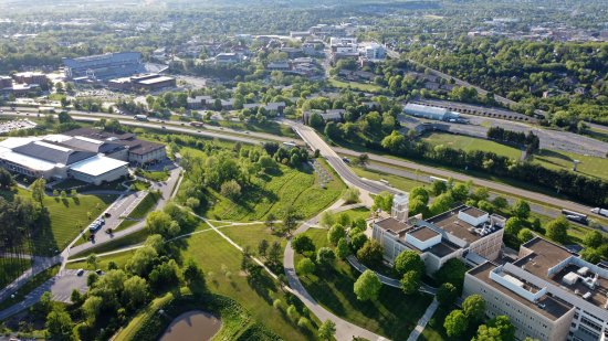 Aerial view looking past I-81 towards the main campus.