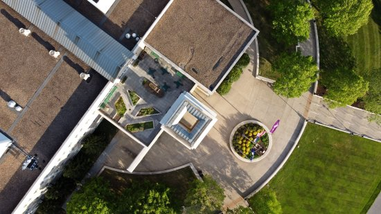 Overhead view of the tower on the front of the ISAT/CS Building.