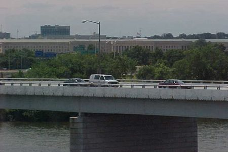 View from the Yellow Line bridge over the Potomac River. The Pentagon is visible in the background.