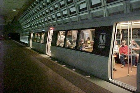 A Yellow Line train services Pentagon station lower level.