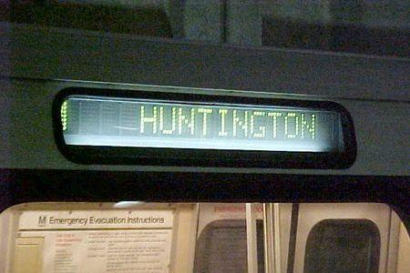 """HUNTINGTON"" destination sign on a Breda 3000-Series car."