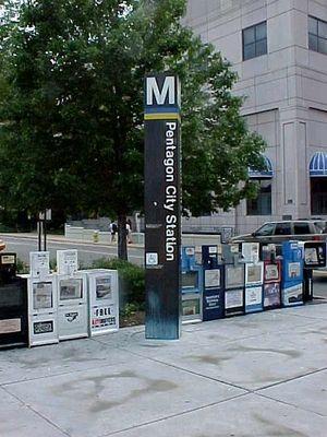 Pentagon City station entrance pylon.