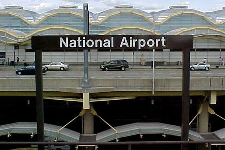"""Trackside signage at National Airport station. The station's name would be changed to the much longer """"Ronald Reagan Washington National Airport"""" about nine months later."""