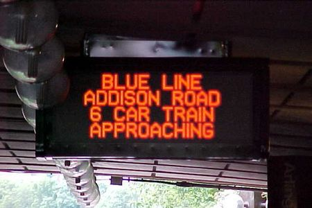 Old-style PIDS display before the current three-line style was introduced in 2005.