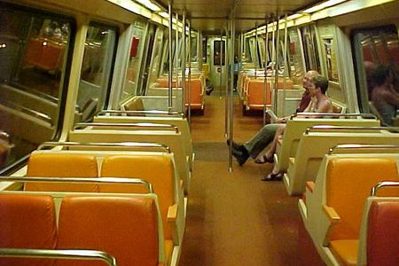 Interior of car 1241 on the Blue Line somewhere between King Street and Franconia-Springfield.