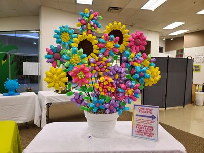 A floral arrangement made out of Peeps.