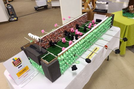 A foosball table made out of Peeps.