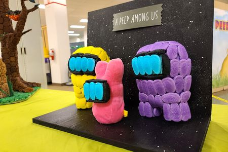 A Peeps spoof of the game Among Us.