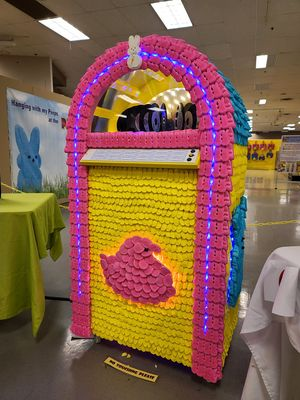 A real, working jukebox decorated in Peeps.