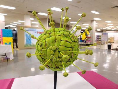 A coronavirus made out of Peeps.