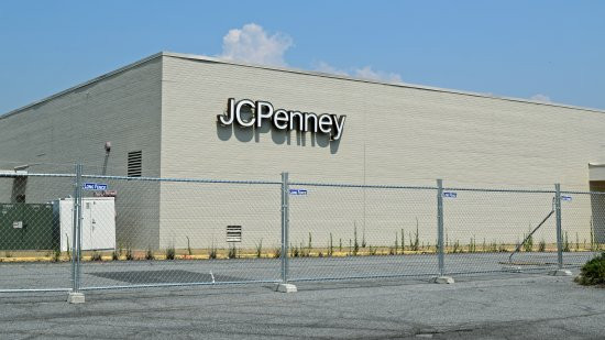 Fencing on the back side of the JCPenney building.