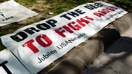 """Jubilee USA's """"Drop The Debt To Fight AIDS"""" banner makes another appearance at this rally, as it did at the fall 2004 World Bank meetings, covered in Part 4 of my Day of Activism Photography set, as well as a small picket on September 21, 2004."""